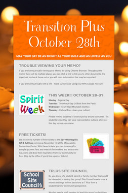 Transition Plus   October 28th