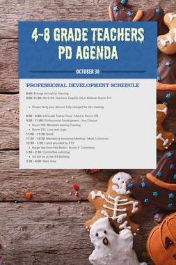 4-8 Grade Teachers PD Agenda