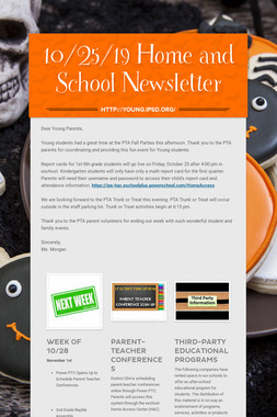 10/25/19 Home and School Newsletter