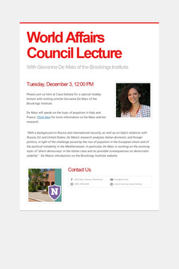 World Affairs Council Lecture