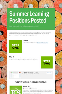 Summer Learning Positions Posted