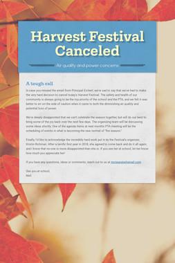 Harvest Festival Canceled