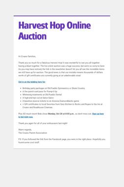 Harvest Hop Online Auction