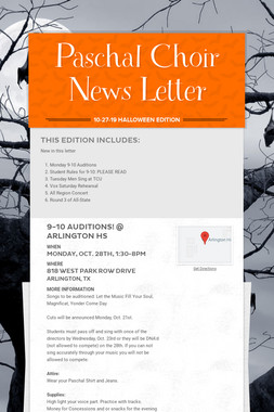 Paschal Choir News Letter