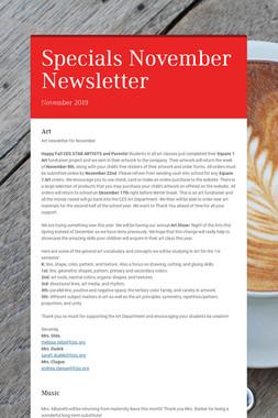 Specials November Newsletter