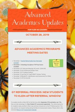 Advanced Academics Updates
