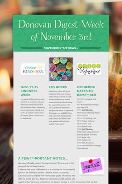 Donovan Digest-Week of November 3rd