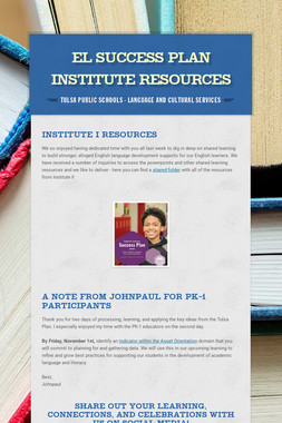 EL Success Plan Institute Resources