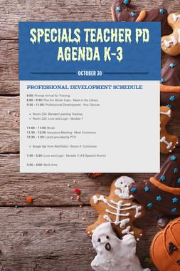 Specials Teacher PD Agenda K-3