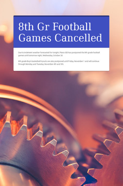 8th Gr Football Games Cancelled