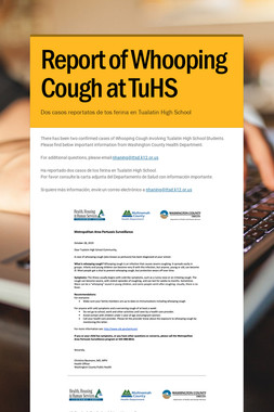 Report of Whooping Cough at TuHS