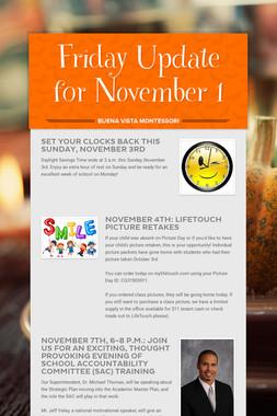 Friday Update for November 1
