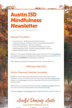 Austin ISD Mindfulness Newsletter