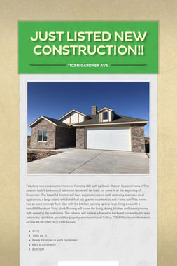 Just Listed New Construction!!