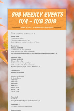 SHS Weekly Events 11/4 - 11/8 2019