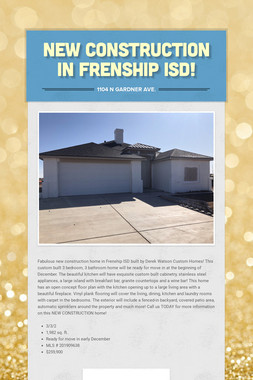 New Construction in Frenship ISD!