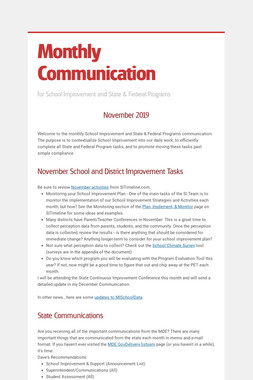 Monthly Communication