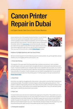 Canon Printer Repair in Dubai