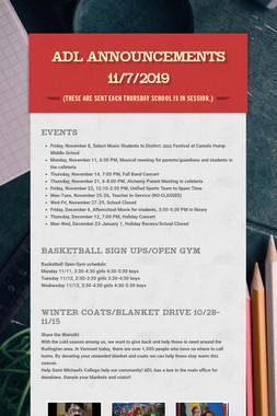ADL Announcements 11/7/2019