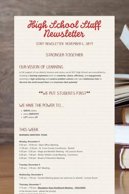 High School Staff Newsletter