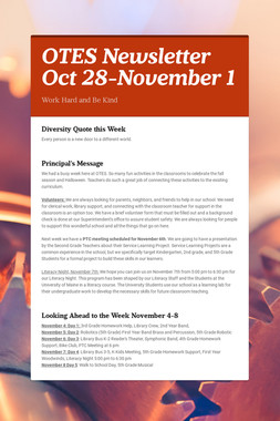 OTES Newsletter Oct 28-November 1
