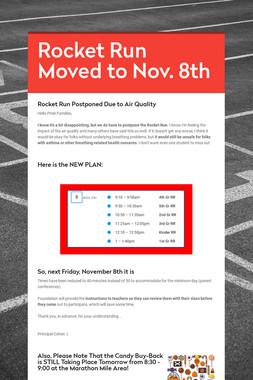 Rocket Run Moved to Nov. 8th