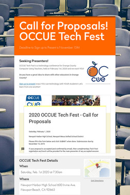 Call for Proposals! OCCUE Tech Fest