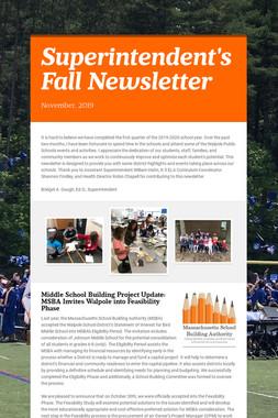 Superintendent's Fall Newsletter
