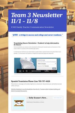 Team 3 Newsletter 11/1 - 11/8