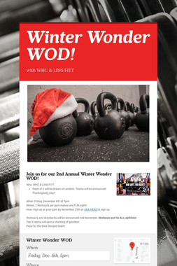 Winter Wonder WOD!