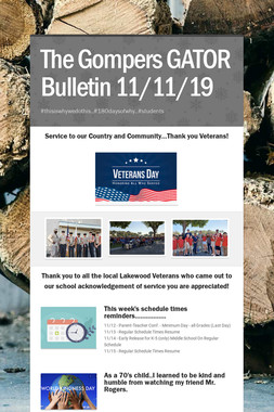 The Gompers GATOR Bulletin 11/11/19