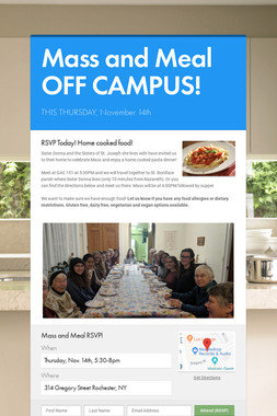 Mass and Meal OFF CAMPUS!