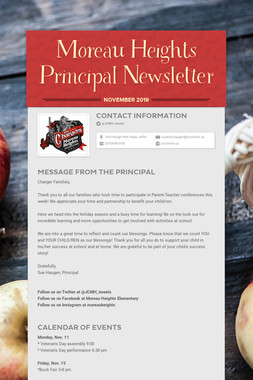 Moreau Heights Principal Newsletter