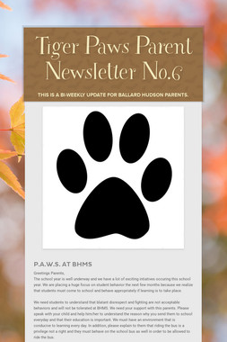 Tiger Paws Parent Newsletter No.6