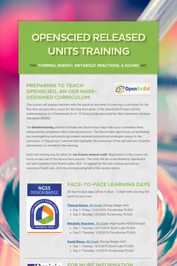 OpenSciEd Released Units Training