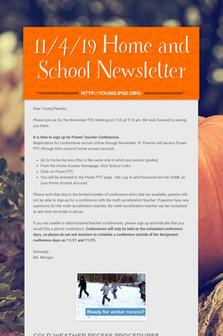 11/4/19 Home and School Newsletter