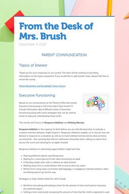 From the Desk of Mrs. Brush