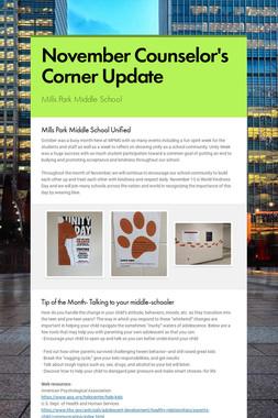 November Counselor's Corner Update