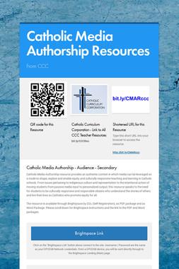 Catholic Media Authorship Resources