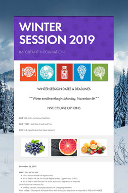 WINTER SESSION 2019