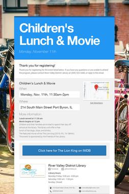 Children's Lunch & Movie