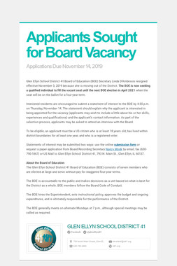 Applicants Sought for Board Vacancy