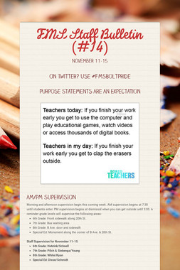 FMS Staff Bulletin (#14)