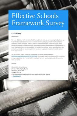 Effective Schools Framework Survey
