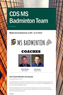 CDS MS Badminton Team