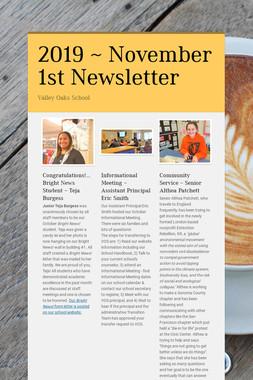 2019 ~ November 1st Newsletter