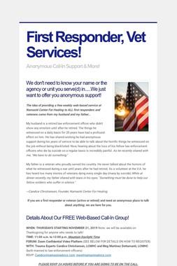 First Responder, Vet Services!