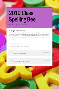 2019 Class Spelling Bee