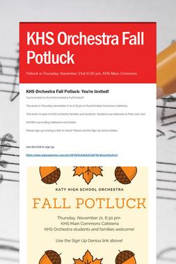 KHS Orchestra Fall Potluck