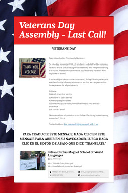Veterans Day Assembly - Last Call!